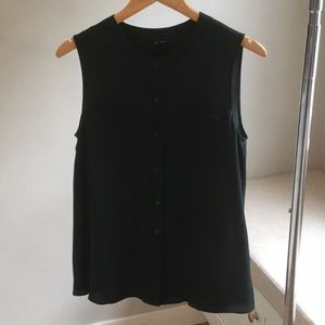 Theory Forest Green Sleeveless Blouse**Like New**M